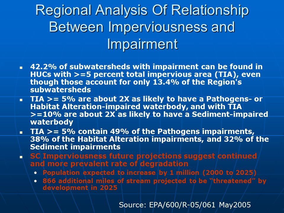 Regional Analysis Of Relationship Between Imperviousness and Impairment 42.2% of subwatersheds with impairment can be found in HUCs with >=5 percent total impervious area (TIA), even though those account for only 13.4% of the Region s subwatersheds TIA >= 5% are about 2X as likely to have a Pathogens- or Habitat Alteration-impaired waterbody, and with TIA >=10% are about 2X as likely to have a Sediment-impaired waterbody TIA >= 5% contain 49% of the Pathogens impairments, 38% of the Habitat Alteration impairments, and 32% of the Sediment impairments SC Imperviousness future projections suggest continued and more prevalent rate of degradation Population expected to increase by 1 million (2000 to 2025) 866 additional miles of stream projected to be threatened by development in 2025 Source: EPA/600/R-05/061 May2005