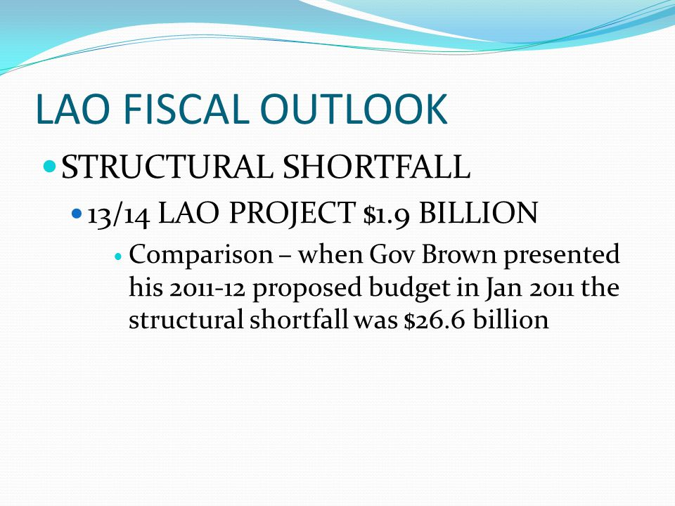 LAO FISCAL OUTLOOK STRUCTURAL SHORTFALL 13/14 LAO PROJECT $1.9 BILLION Comparison – when Gov Brown presented his 2011-12 proposed budget in Jan 2011 t