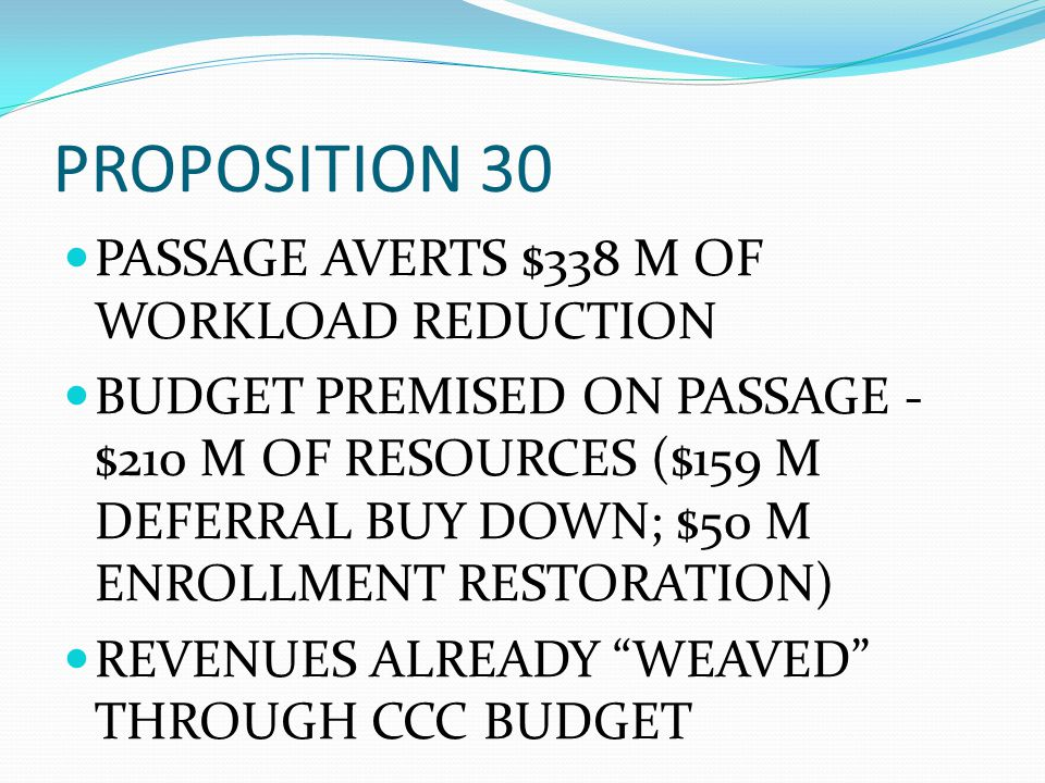 PROPOSITION 30 PASSAGE AVERTS $338 M OF WORKLOAD REDUCTION BUDGET PREMISED ON PASSAGE - $210 M OF RESOURCES ($159 M DEFERRAL BUY DOWN; $50 M ENROLLMEN