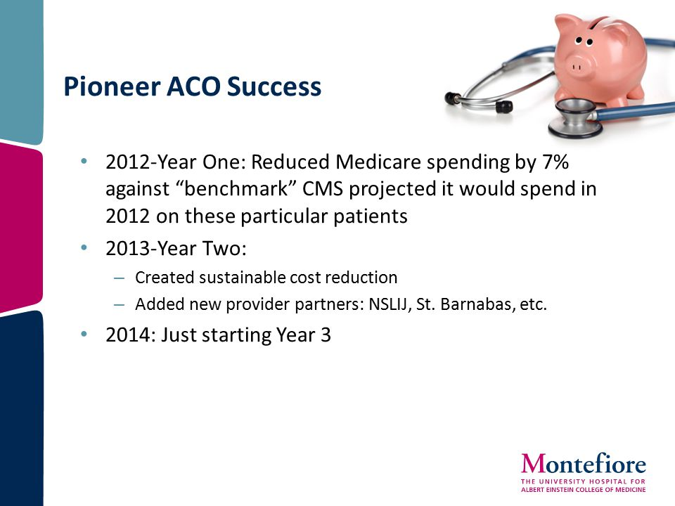 """Pioneer ACO Success 2012-Year One: Reduced Medicare spending by 7% against """"benchmark"""" CMS projected it would spend in 2012 on these particular patien"""
