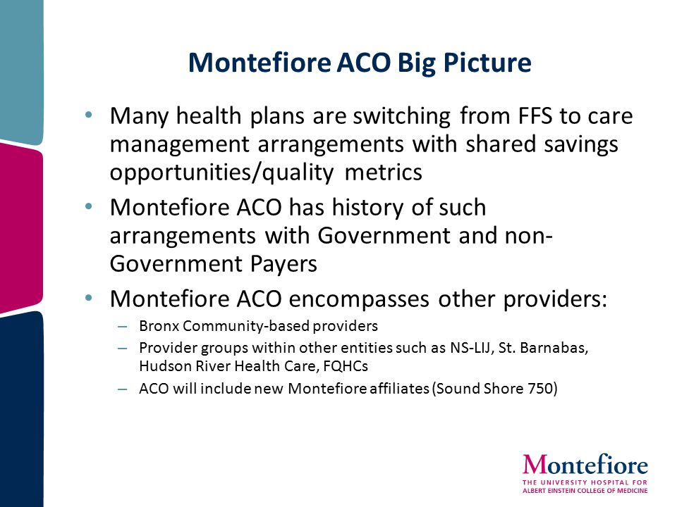 Montefiore ACO Big Picture Many health plans are switching from FFS to care management arrangements with shared savings opportunities/quality metrics Montefiore ACO has history of such arrangements with Government and non- Government Payers Montefiore ACO encompasses other providers: – Bronx Community-based providers – Provider groups within other entities such as NS-LIJ, St.