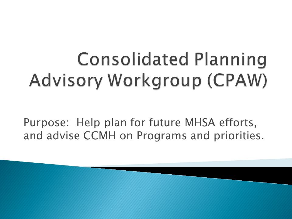 Purpose: Help plan for future MHSA efforts, and advise CCMH on Programs and priorities.