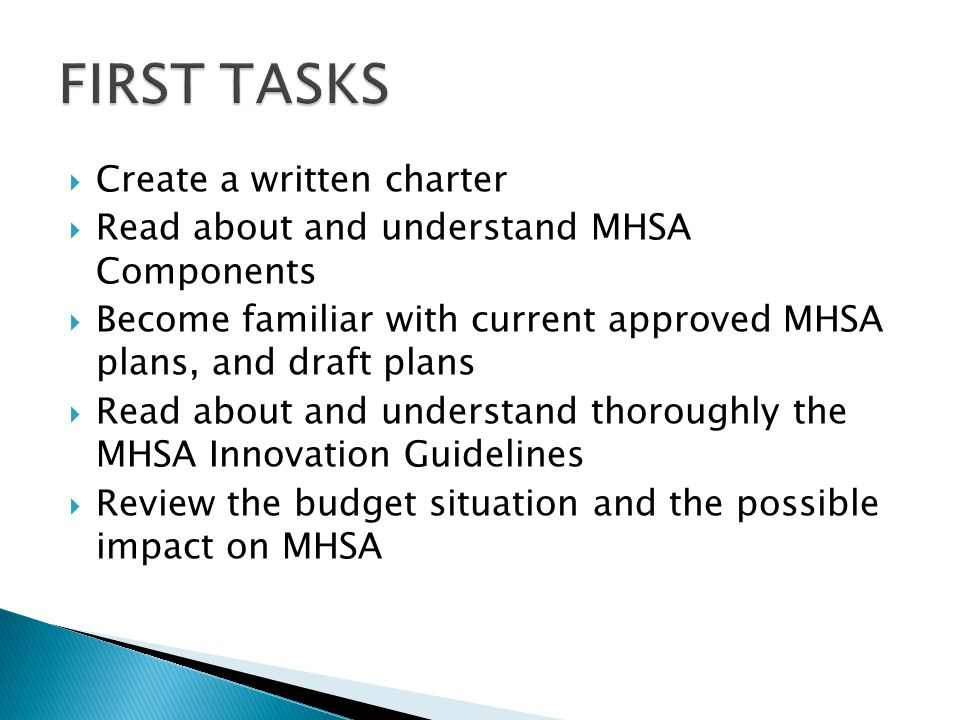  Create a written charter  Read about and understand MHSA Components  Become familiar with current approved MHSA plans, and draft plans  Read about and understand thoroughly the MHSA Innovation Guidelines  Review the budget situation and the possible impact on MHSA