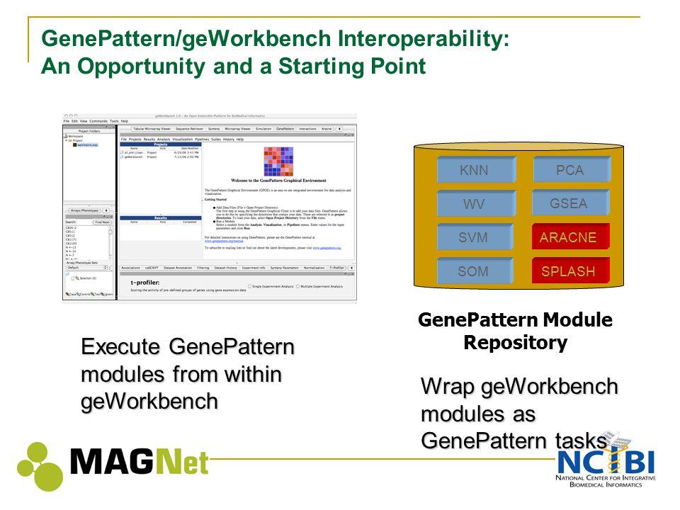 GenePattern/geWorkbench Interoperability: An Opportunity and a Starting Point KNN WV SVM SOM GSEA ARACNE SPLASH PCA GenePattern Module Repository Wrap geWorkbench modules as GenePattern tasks Execute GenePattern modules from within geWorkbench