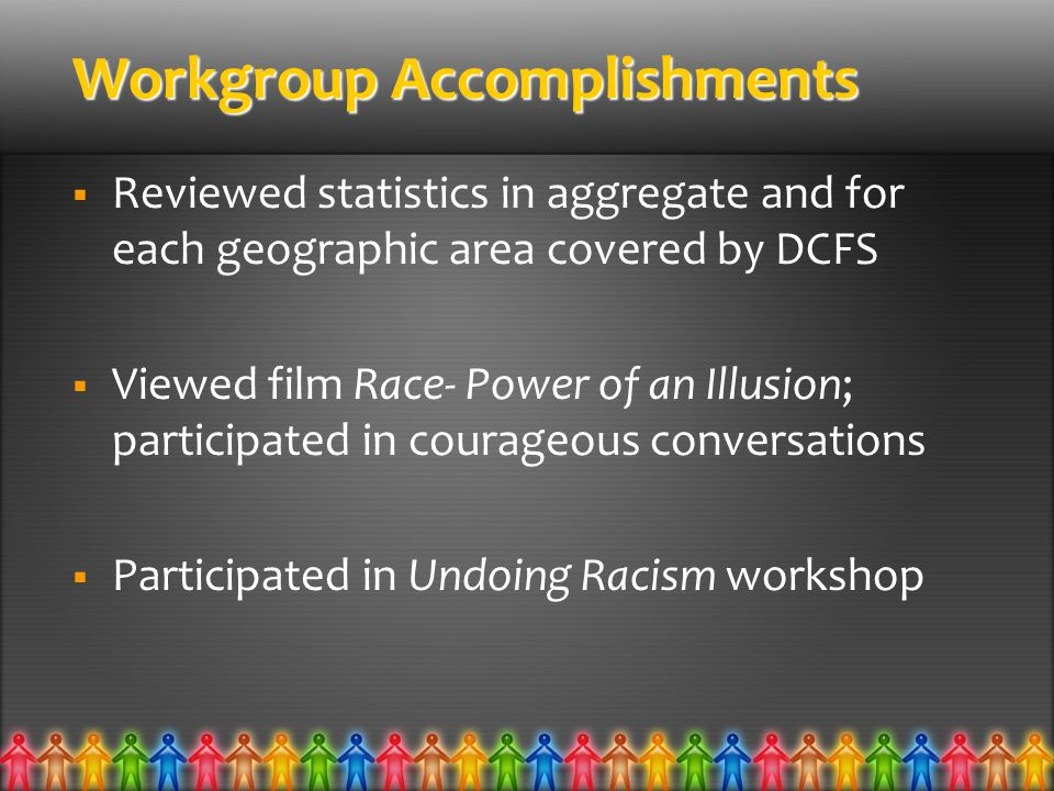 Workgroup Accomplishments  Reviewed statistics in aggregate and for each geographic area covered by DCFS  Viewed film Race- Power of an Illusion; participated in courageous conversations  Participated in Undoing Racism workshop
