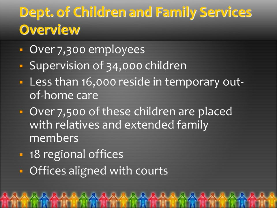 Dept. of Children and Family Services Overview  Over 7,300 employees  Supervision of 34,000 children  Less than 16,000 reside in temporary out- of-