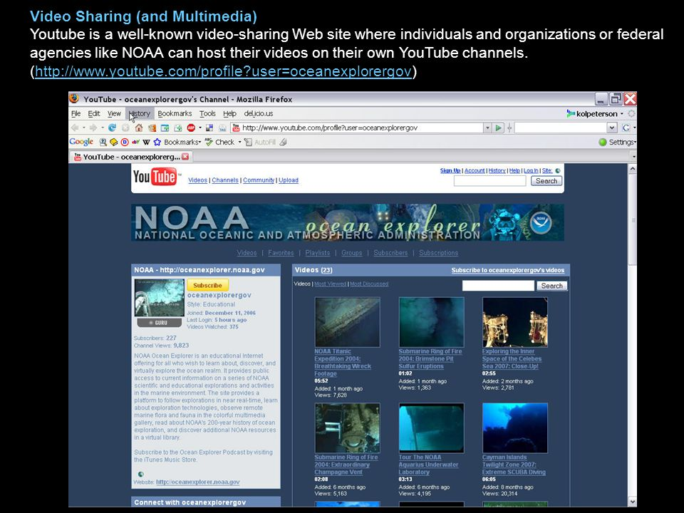 Video Sharing (and Multimedia) Youtube is a well-known video-sharing Web site where individuals and organizations or federal agencies like NOAA can ho