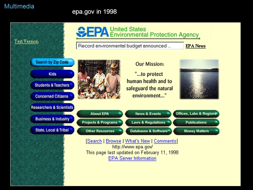 epa.gov in 1998 Multimedia
