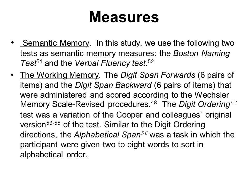 Measures Semantic Memory.