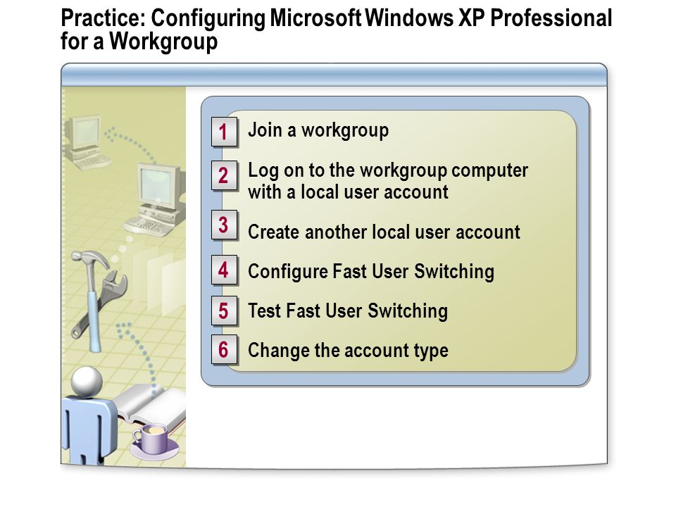 Practice: Configuring Microsoft Windows XP Professional for a Workgroup Join a workgroup Log on to the workgroup computer with a local user account Create another local user account Configure Fast User Switching Test Fast User Switching Change the account type Join a workgroup Log on to the workgroup computer with a local user account Create another local user account Configure Fast User Switching Test Fast User Switching Change the account type