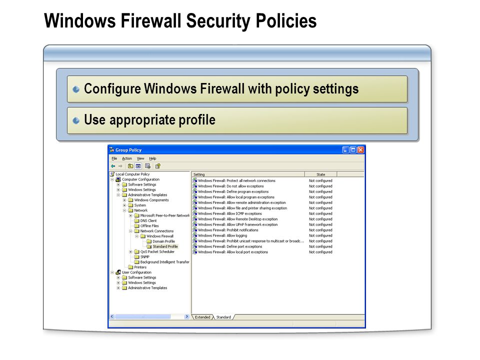 Windows Firewall Security Policies Configure Windows Firewall with policy settings Use appropriate profile