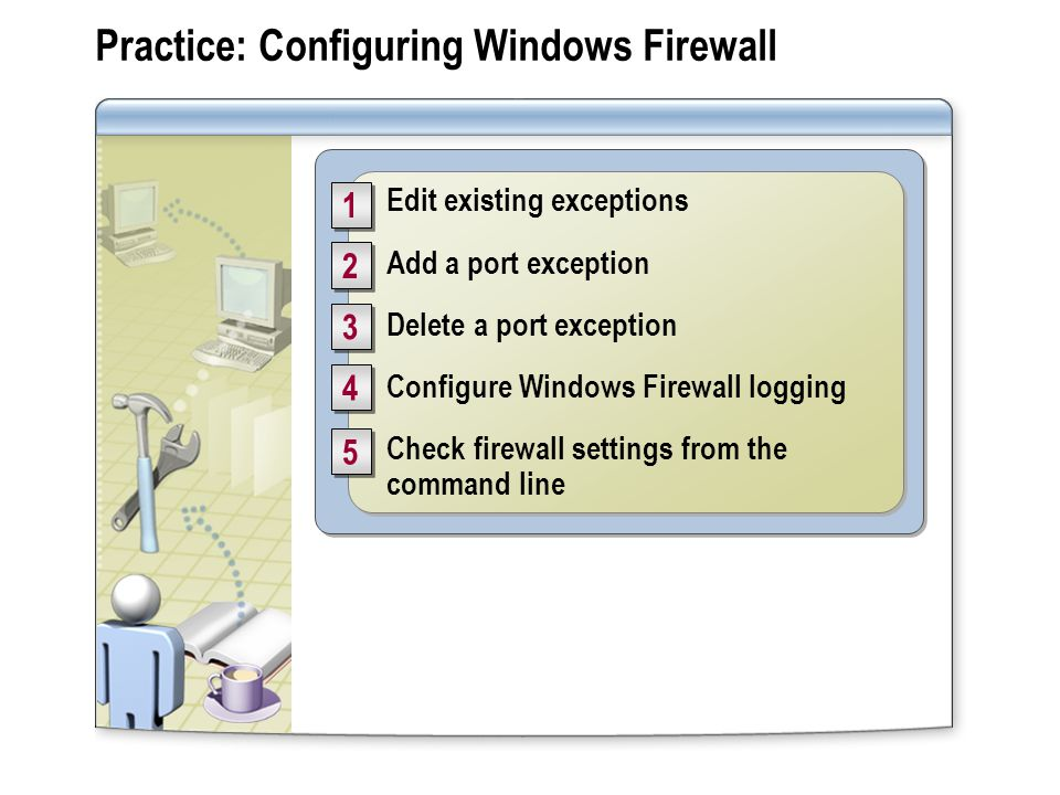 Practice: Configuring Windows Firewall Edit existing exceptions Add a port exception Delete a port exception Configure Windows Firewall logging Check firewall settings from the command line Edit existing exceptions Add a port exception Delete a port exception Configure Windows Firewall logging Check firewall settings from the command line