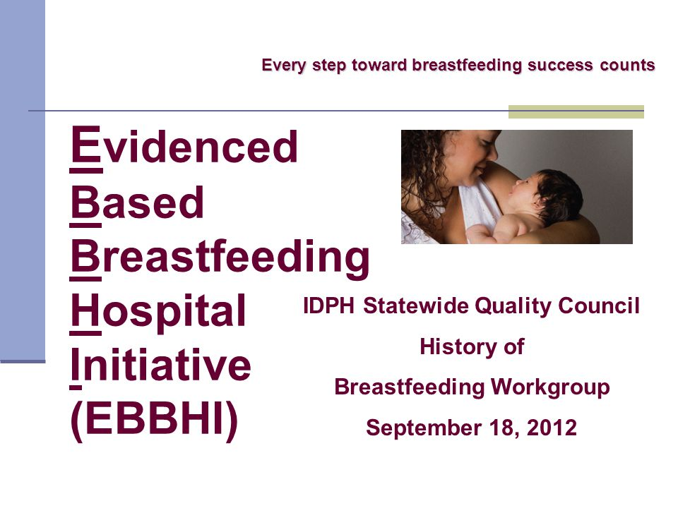 E videnced Based Breastfeeding Hospital Initiative (EBBHI) Every step toward breastfeeding success counts IDPH Statewide Quality Council History of Breastfeeding Workgroup September 18, 2012