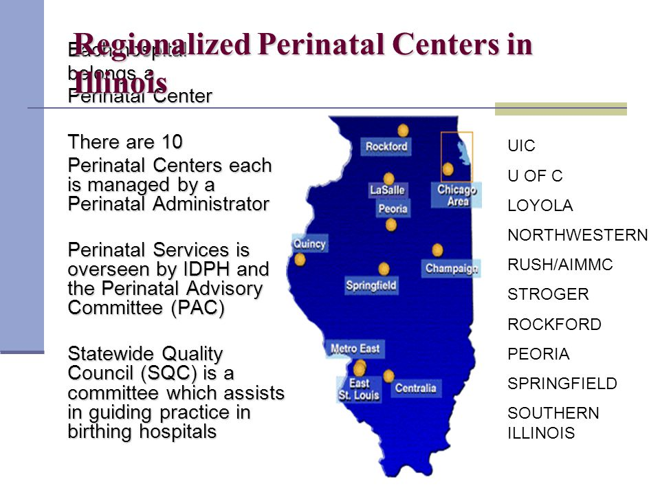 Each hospital belongs a Perinatal Center There are 10 Perinatal Centers each is managed by a Perinatal Administrator Perinatal Services is overseen by IDPH and the Perinatal Advisory Committee (PAC) Statewide Quality Council (SQC) is a committee which assists in guiding practice in birthing hospitals Regionalized Perinatal Centers in Illinois UIC U OF C LOYOLA NORTHWESTERN RUSH/AIMMC STROGER ROCKFORD PEORIA SPRINGFIELD SOUTHERN ILLINOIS