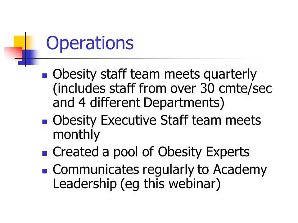 Operations Obesity staff team meets quarterly (includes staff from over 30 cmte/sec and 4 different Departments) Obesity Executive Staff team meets monthly Created a pool of Obesity Experts Communicates regularly to Academy Leadership (eg this webinar)
