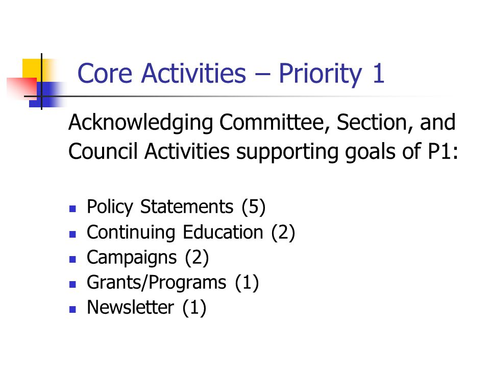 Core Activities – Priority 1 Acknowledging Committee, Section, and Council Activities supporting goals of P1: Policy Statements (5) Continuing Education (2) Campaigns (2) Grants/Programs (1) Newsletter (1)