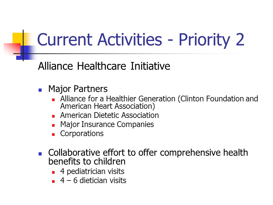 Current Activities - Priority 2 Alliance Healthcare Initiative Major Partners Alliance for a Healthier Generation (Clinton Foundation and American Heart Association) American Dietetic Association Major Insurance Companies Corporations Collaborative effort to offer comprehensive health benefits to children 4 pediatrician visits 4 – 6 dietician visits