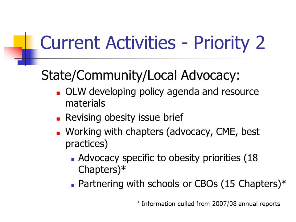 Current Activities - Priority 2 State/Community/Local Advocacy: OLW developing policy agenda and resource materials Revising obesity issue brief Working with chapters (advocacy, CME, best practices) Advocacy specific to obesity priorities (18 Chapters)* Partnering with schools or CBOs (15 Chapters)* * Information culled from 2007/08 annual reports