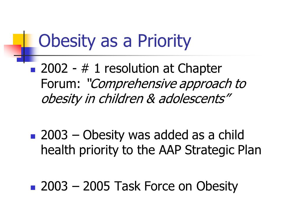 Obesity as a Priority 2002 - # 1 resolution at Chapter Forum: Comprehensive approach to obesity in children & adolescents 2003 – Obesity was added as a child health priority to the AAP Strategic Plan 2003 – 2005 Task Force on Obesity