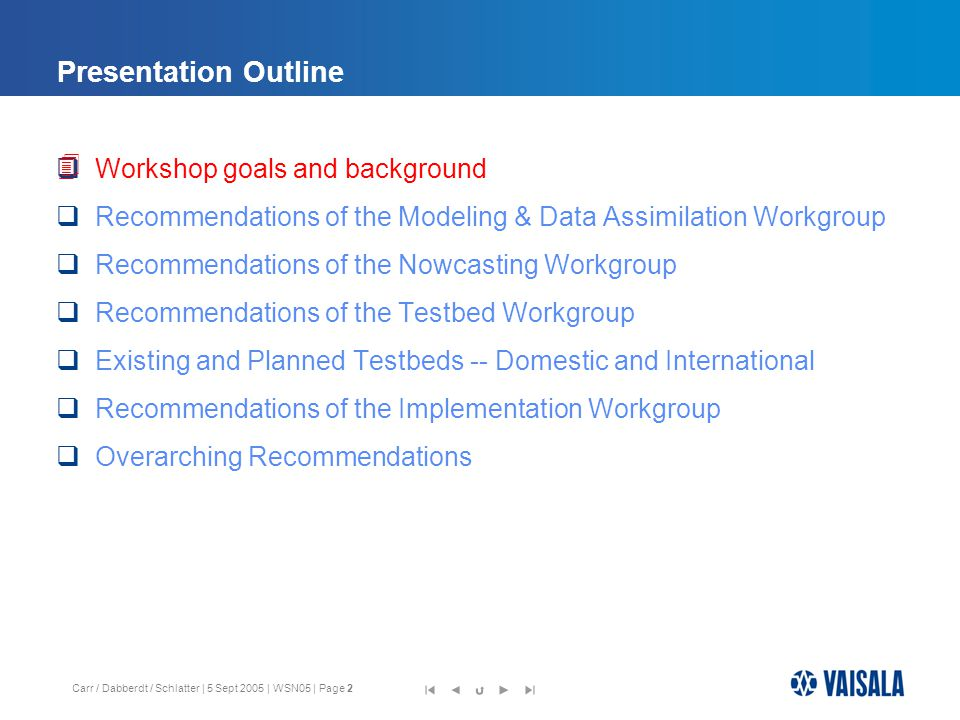 Carr / Dabberdt / Schlatter | 5 Sept 2005 | WSN05 | Page 13 Presentation Outline  Workshop goals and background  Recommendations of the Modeling & Data Assimilation Workgroup  Recommendations of the Nowcasting Workgroup  Recommendations of the Testbed Workgroup  Existing and Planned Testbeds -- Domestic and International  Recommendations of the Implementation Workgroup  The Helsinki Testbed 