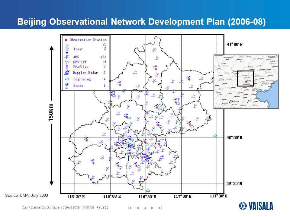 Carr / Dabberdt / Schlatter | 5 Sept 2005 | WSN05 | Page 20 Beijing Observational Network Development Plan (2006-08) 150km Source: CMA, July 2003