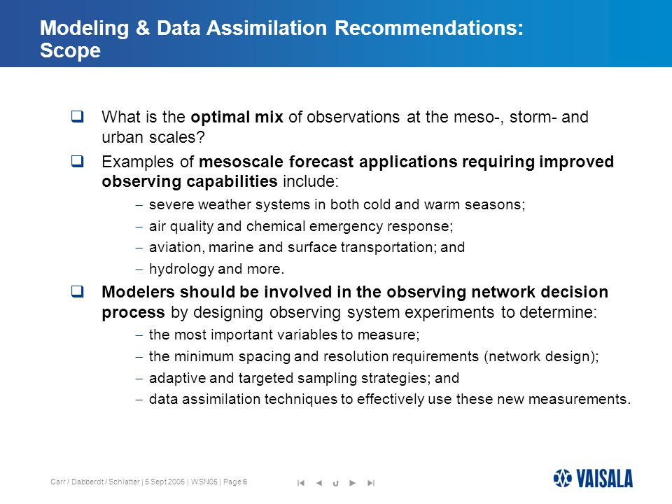 Carr / Dabberdt / Schlatter | 5 Sept 2005 | WSN05 | Page 17 Presentation Outline  Workshop goals and background  Recommendations of the Modeling & Data Assimilation Workgroup  Recommendations of the Nowcasting Workgroup  Recommendations of the Testbed Workgroup  Existing and Planned Testbeds -- Domestic and International  Recommendations of the Implementation Workgroup  Overarching Recommendations 