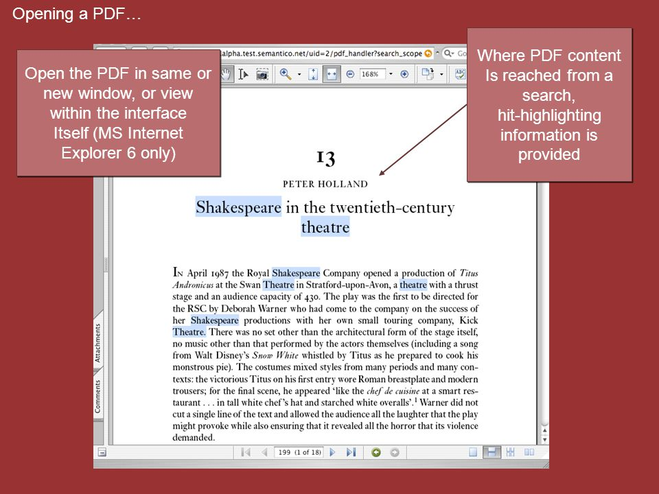 Opening a PDF… Where PDF content Is reached from a search, hit-highlighting information is provided Where PDF content Is reached from a search, hit-hi