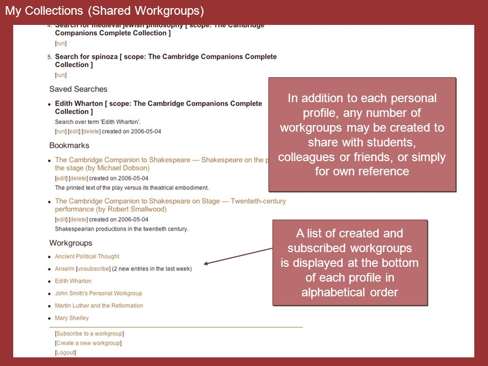 My Collections (Shared Workgroups) A list of created and subscribed workgroups is displayed at the bottom of each profile in alphabetical order A list