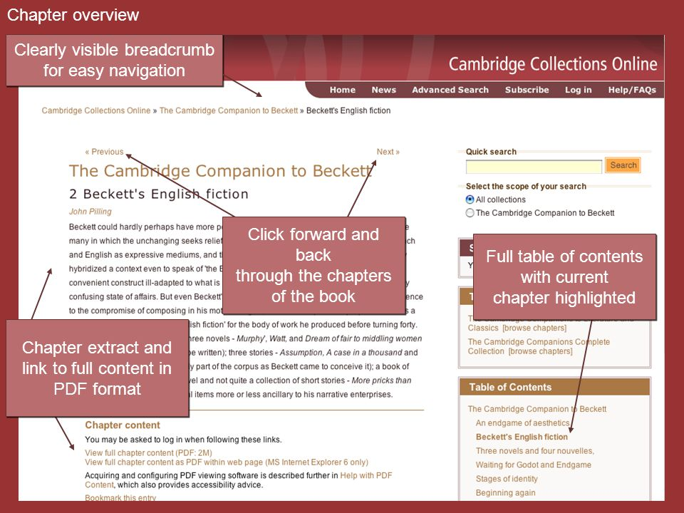 Chapter overview Clearly visible breadcrumb for easy navigation Clearly visible breadcrumb for easy navigation Click forward and back through the chapters of the book Click forward and back through the chapters of the book Full table of contents with current chapter highlighted Full table of contents with current chapter highlighted Chapter extract and link to full content in PDF format Chapter extract and link to full content in PDF format