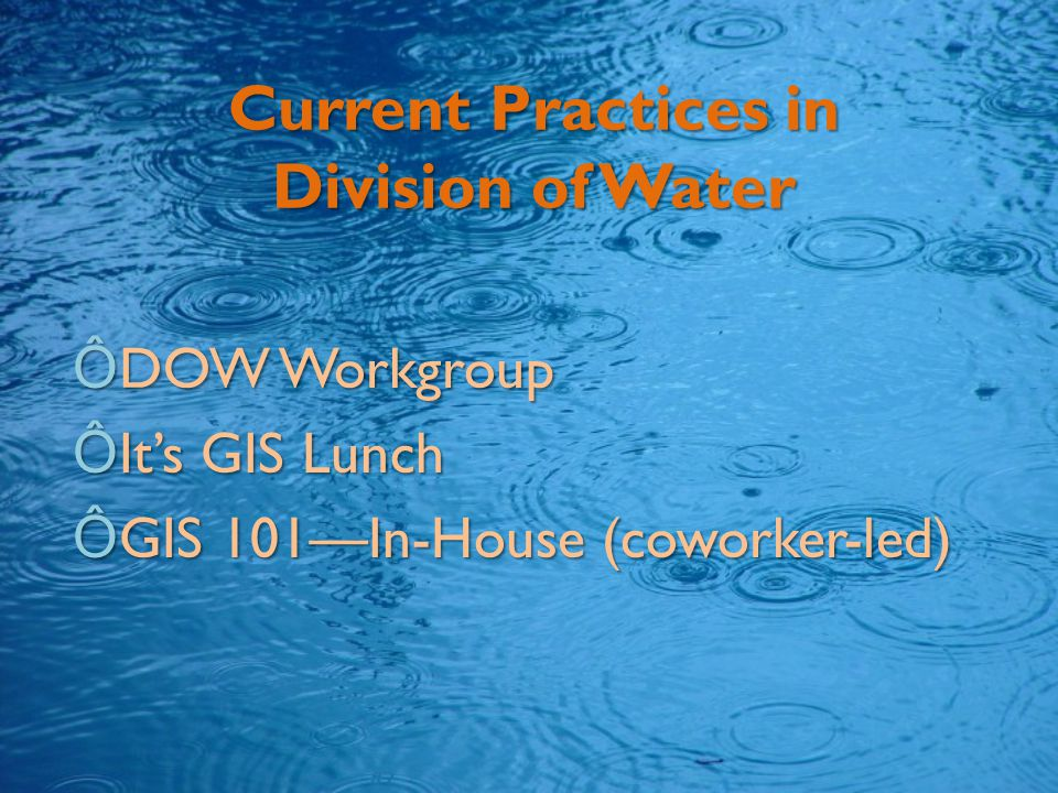 Current Practices in Division of Water ÔDOW Workgroup ÔIt's GIS Lunch ÔGIS 101—In-House (coworker-led)