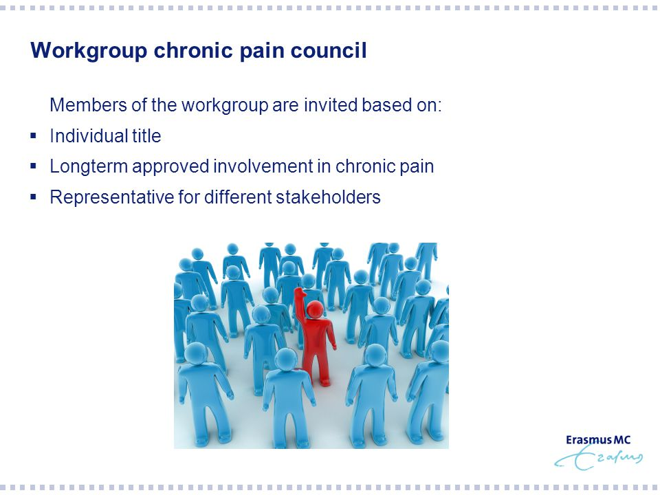 Workgroup chronic pain council  Members of the workgroup are invited based on:  Individual title  Longterm approved involvement in chronic pain  Representative for different stakeholders