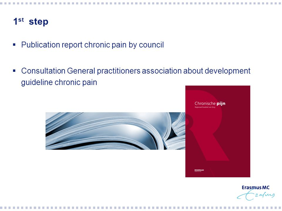 1 st step  Publication report chronic pain by council  Consultation General practitioners association about development guideline chronic pain