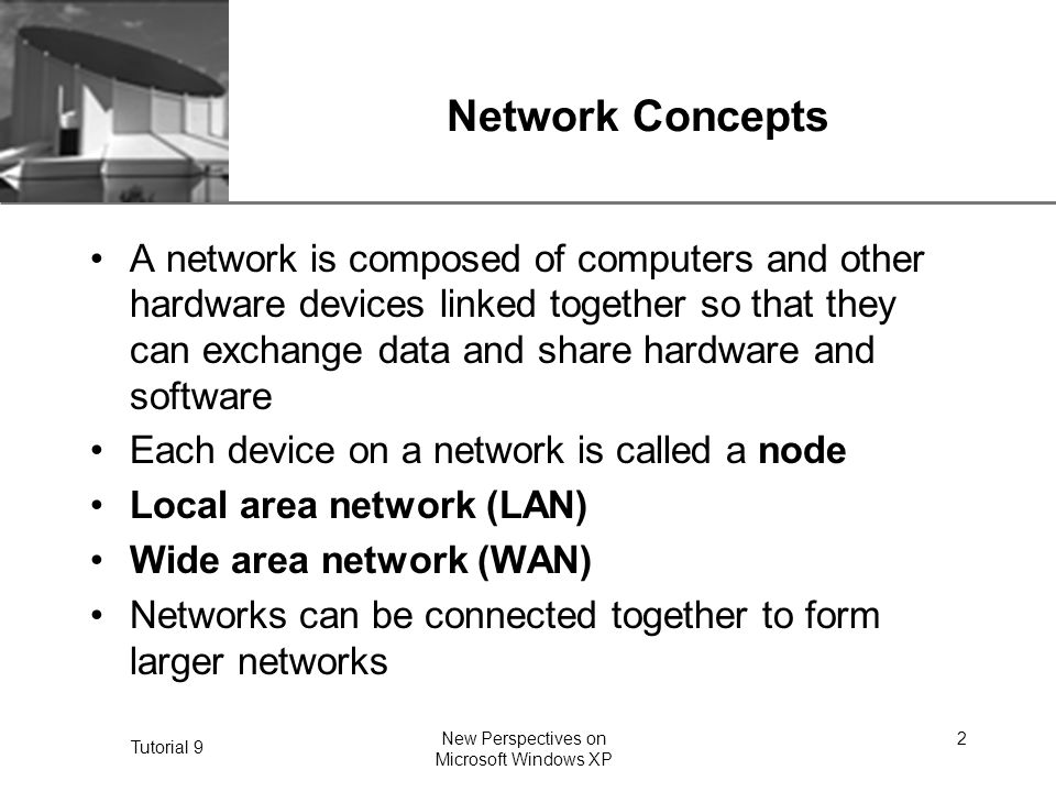 XP Tutorial 9 New Perspectives on Microsoft Windows XP 3 Network Concepts