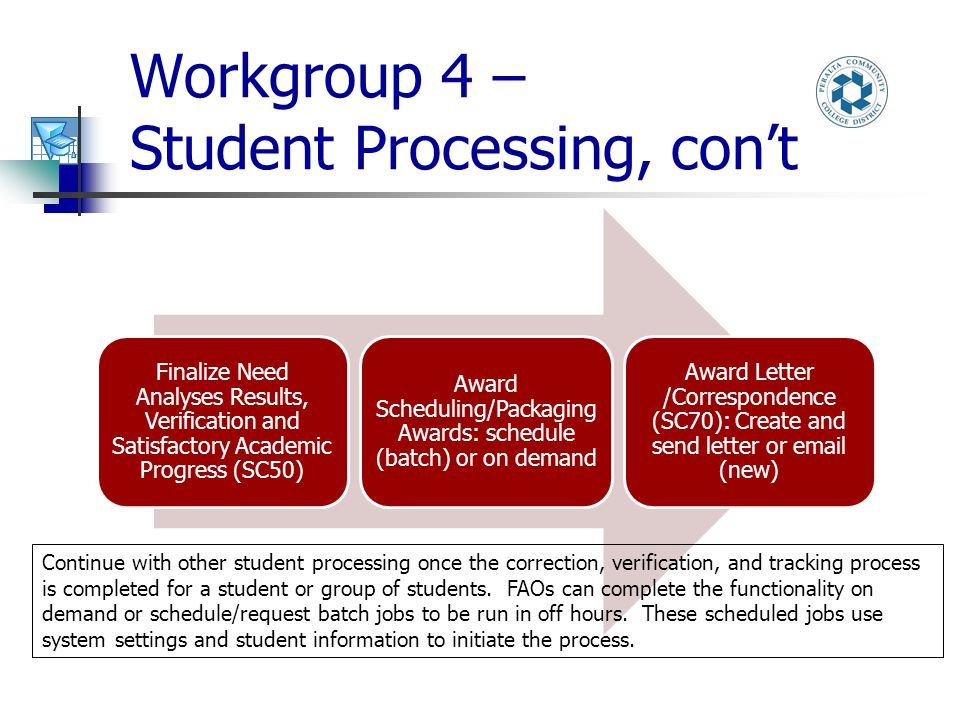 Workgroup 4 – Student Processing, con't Finalize Need Analyses Results, Verification and Satisfactory Academic Progress (SC50) Award Scheduling/Packaging Awards: schedule (batch) or on demand Award Letter /Correspondence (SC70): Create and send letter or email (new) Continue with other student processing once the correction, verification, and tracking process is completed for a student or group of students.