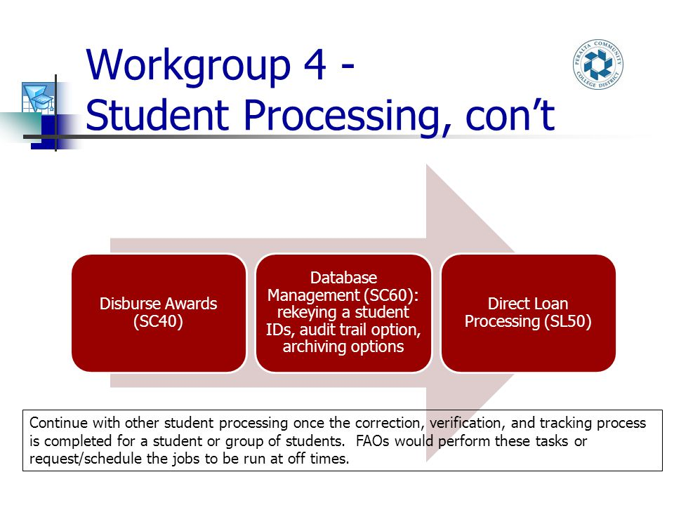 Workgroup 4 - Student Processing, con't Disburse Awards (SC40) Database Management (SC60): rekeying a student IDs, audit trail option, archiving options Direct Loan Processing (SL50) Continue with other student processing once the correction, verification, and tracking process is completed for a student or group of students.