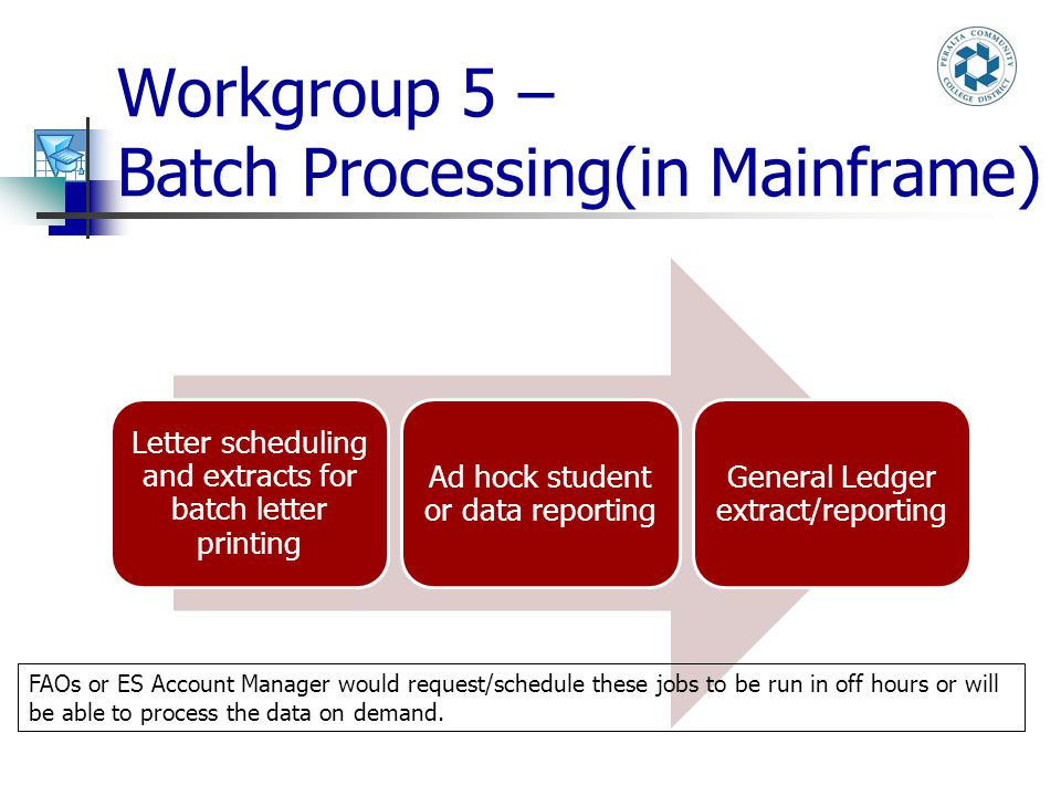 Workgroup 5 – Batch Processing(in Mainframe) Letter scheduling and extracts for batch letter printing Ad hock student or data reporting General Ledger extract/reporting FAOs or ES Account Manager would request/schedule these jobs to be run in off hours or will be able to process the data on demand.