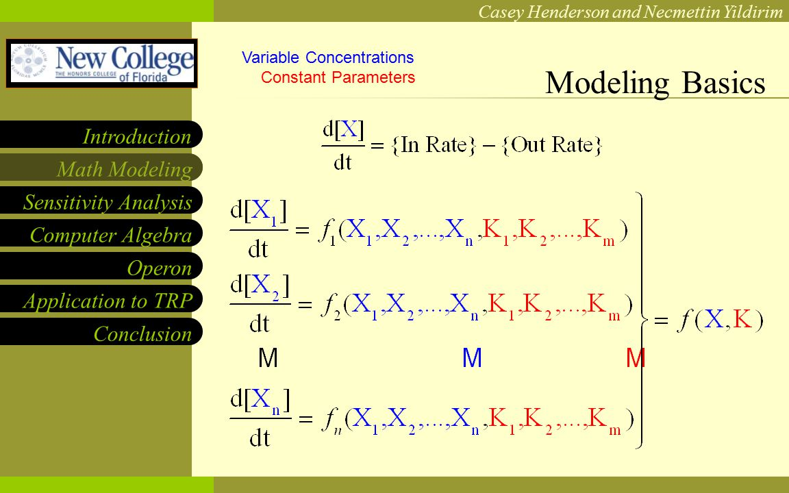 NCF LOGO Casey Henderson and Necmettin Yildirim Sensitivity Analysis Computer Algebra Operon Application to TRP Math Modeling Introduction Conclusion Modeling Basics Variable Concentrations Constant Parameters