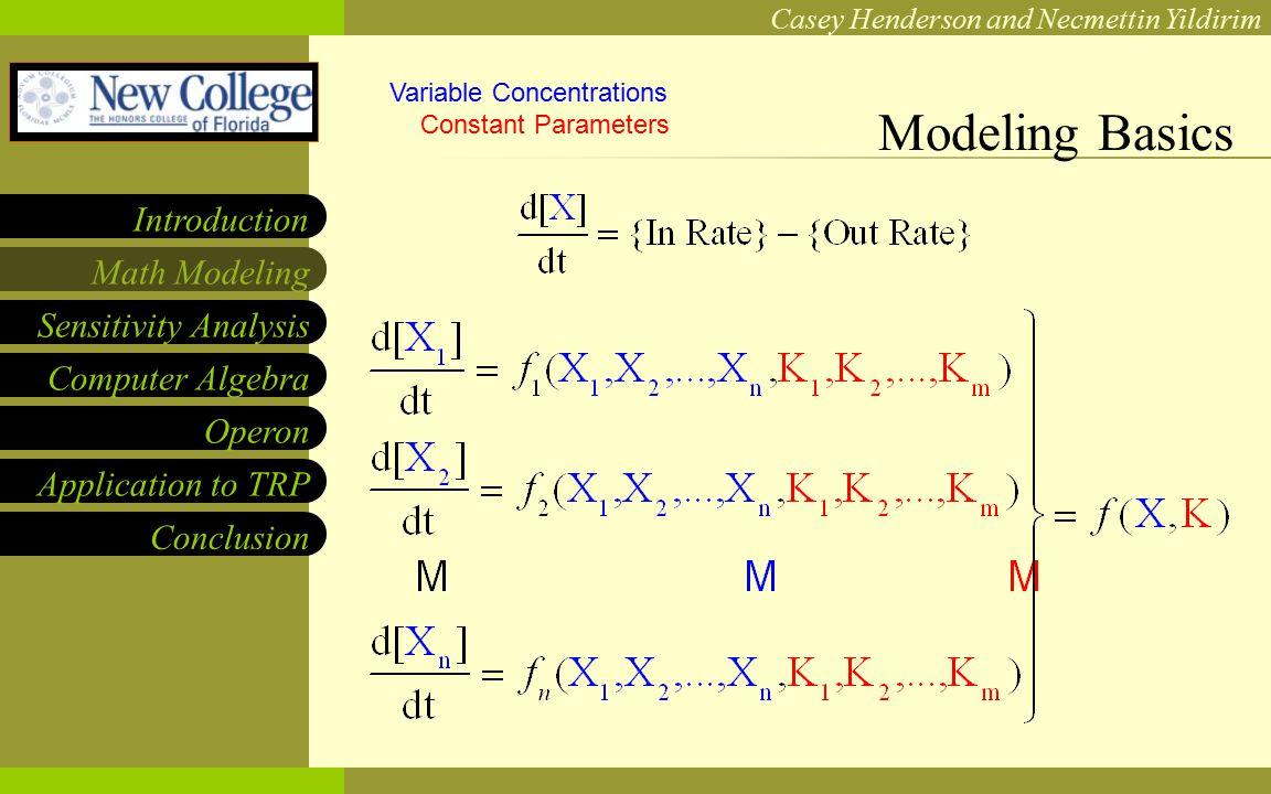 NCF LOGO Casey Henderson and Necmettin Yildirim Sensitivity Analysis Computer Algebra Operon Application to TRP Math Modeling Introduction Conclusion TRP Sensitivities Revealed
