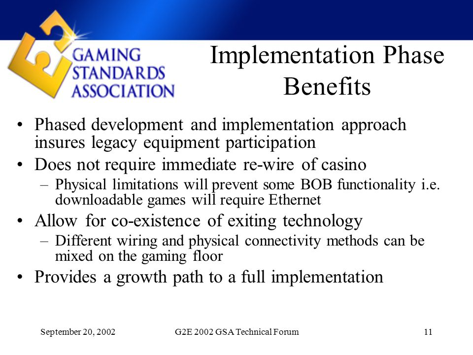 September 20, 2002G2E 2002 GSA Technical Forum11 Implementation Phase Benefits Phased development and implementation approach insures legacy equipment participation Does not require immediate re-wire of casino –Physical limitations will prevent some BOB functionality i.e.