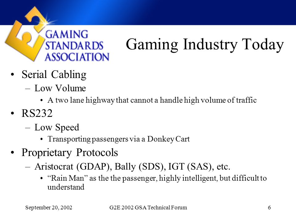 September 20, 2002G2E 2002 GSA Technical Forum6 Gaming Industry Today Serial Cabling –Low Volume A two lane highway that cannot a handle high volume of traffic RS232 –Low Speed Transporting passengers via a Donkey Cart Proprietary Protocols –Aristocrat (GDAP), Bally (SDS), IGT (SAS), etc.