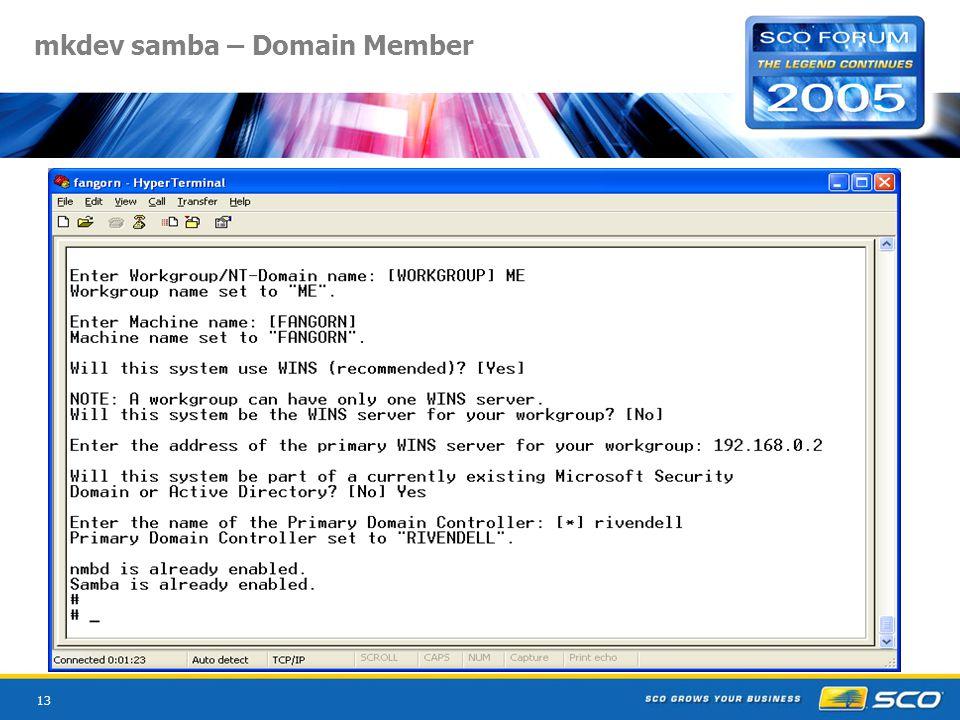 13 mkdev samba – Domain Member