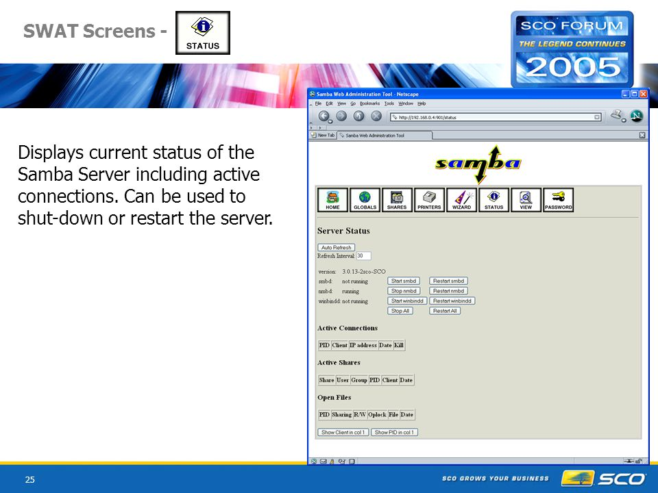 25 SWAT Screens - Displays current status of the Samba Server including active connections.