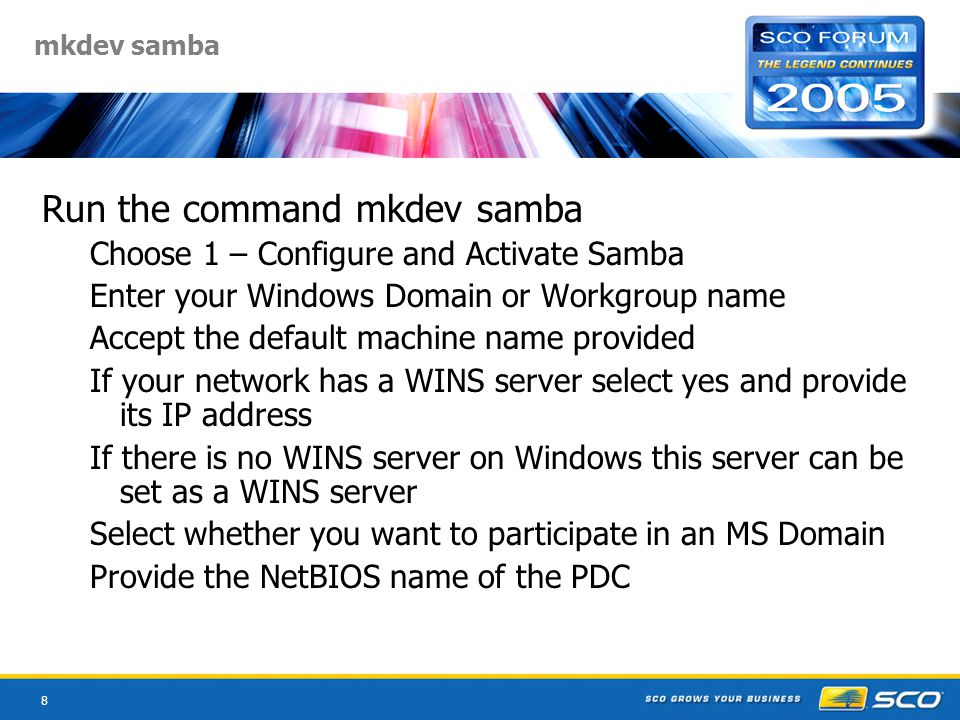 29 Files & Directories /etc/samba smb.confprimary samba configuration file lmhostsfile of netbios host names & ip addresses secrets.tdbholds SID information smbusersmaps Unix to Windows account names smbpasswdEquivalent to the Unix Password file smbstabInfo about file & print shares /usr/sbin Daemons smbd and nmbd /usr/bin Executables, testparm, smbnet etc
