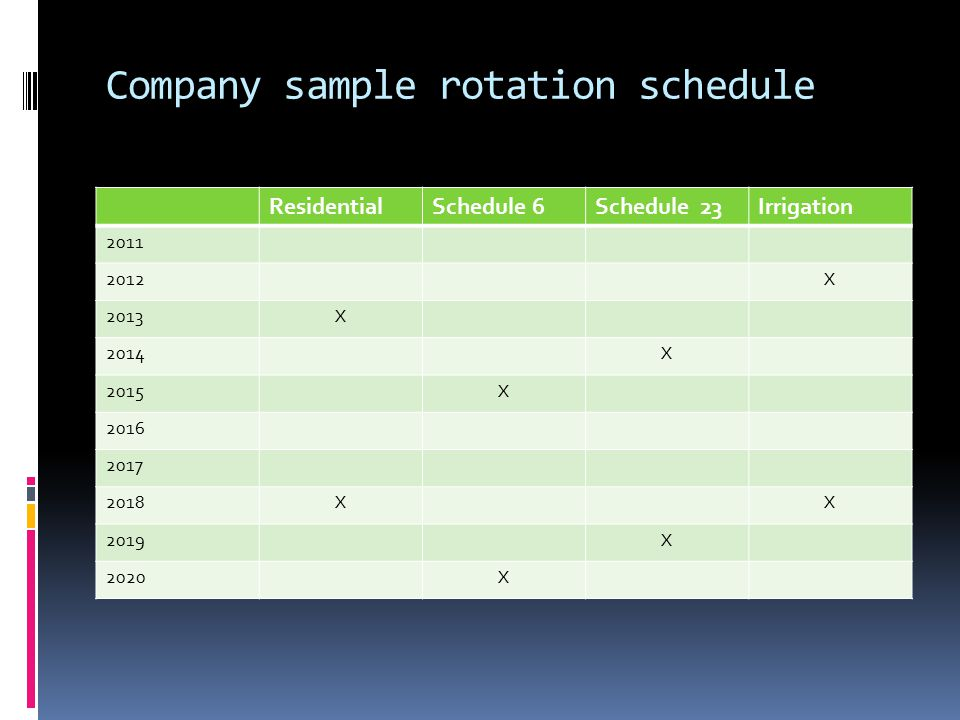 Company sample rotation schedule ResidentialSchedule 6Schedule 23Irrigation 2011 2012X 2013X 2014X 2015X 2016 2017 2018XX 2019X 2020X