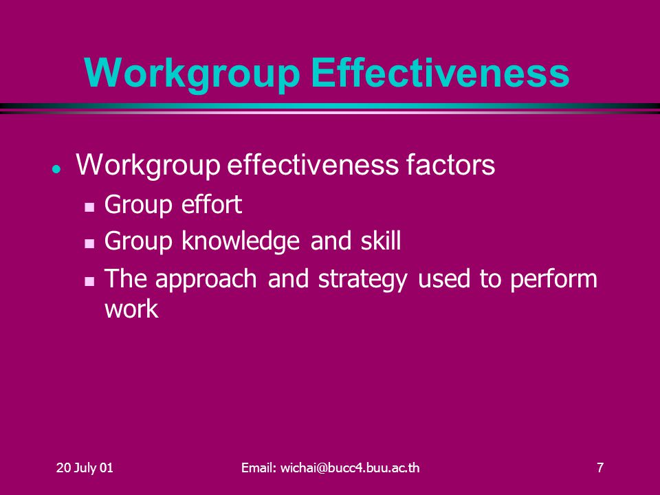 20 July 01Email: wichai@bucc4.buu.ac.th7 Workgroup Effectiveness Workgroup effectiveness factors Group effort Group knowledge and skill The approach and strategy used to perform work