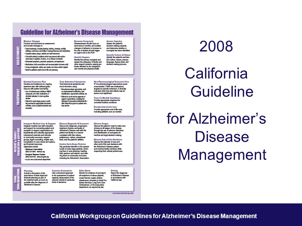 1 California Workgroup on Guidelines for Alzheimer's Disease Management 2008 California Guideline for Alzheimer's Disease Management