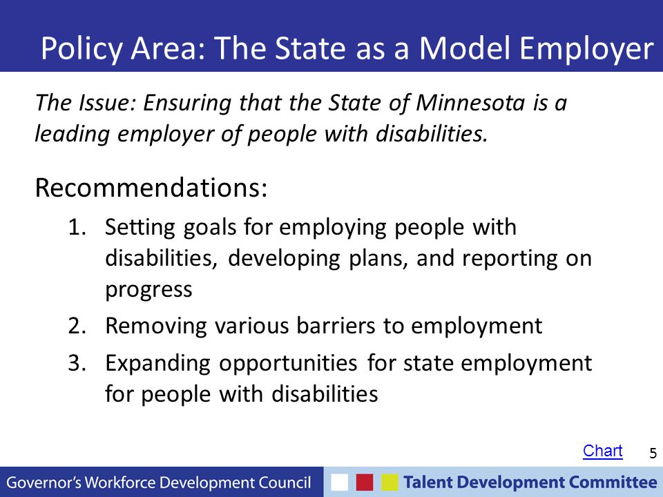 6 Policy Area: Tracking Employment Outcomes The Issue: While lots of money is spent on education and training, we know little about employment outcomes for people with disabilities.