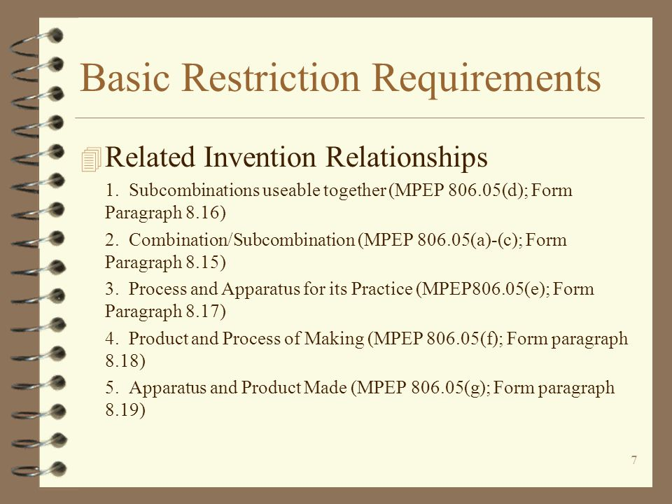 7 Basic Restriction Requirements 4 Related Invention Relationships 1.
