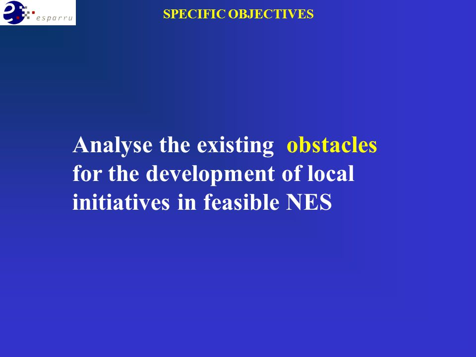 Analyse the existing obstacles for the development of local initiatives in feasible NES SPECIFIC OBJECTIVES