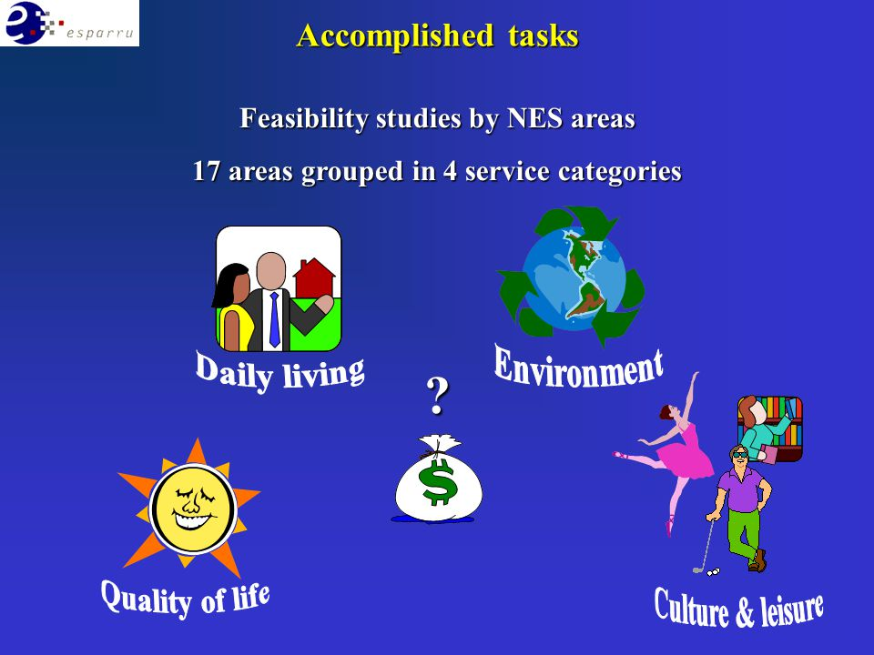 Feasibility studies by NES areas 17 areas grouped in 4 service categories ? Accomplished tasks